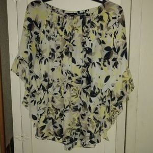 Alfani Floral Bell Sleeve Top 14 XL Yellow Black